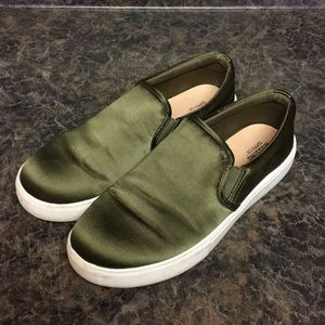 Green slip on tennis shoes